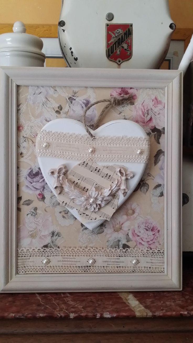 tableau et coeur en bois dentelle ancienne inspiration