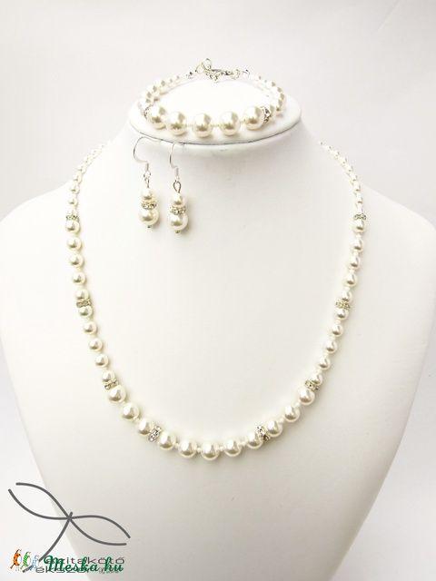 Meska - Egyszerű gyöngysor esküvőre Swarovski gyöngyből rondellákkal Edina09 kézművestől