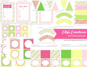 Lily Pulitzer Inspired Printable Party Set from www.printablepartyshop.com   Tons of printables all in one place!: Kids Parties, Printable Lilies, Green Printable, Birthday Parties, Inspiration Printable, Lilies Pulitzer, Lilies Luncheon, Printable Parties, Free Printable