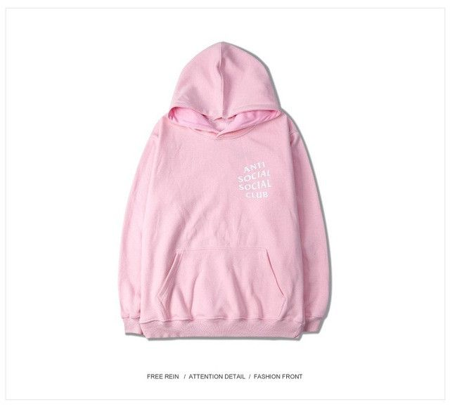 ss-w100 High quality Kanye west clothing Thick Pink antisocial social club women hoodies and sweatshirts hip hop clothing