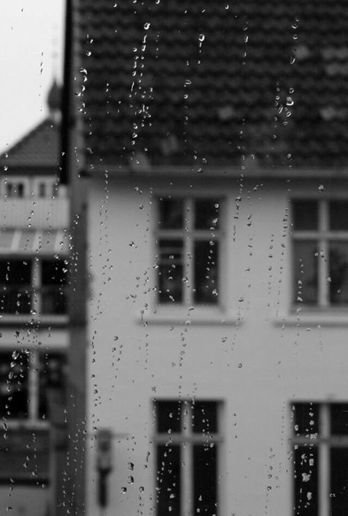 rain on the window. I love when it rains and I can watch the drops collecting together on the glass.