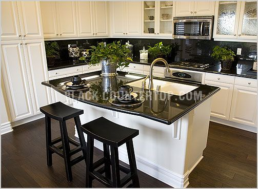 Google image result for for Black kitchen cabinets with black granite countertops