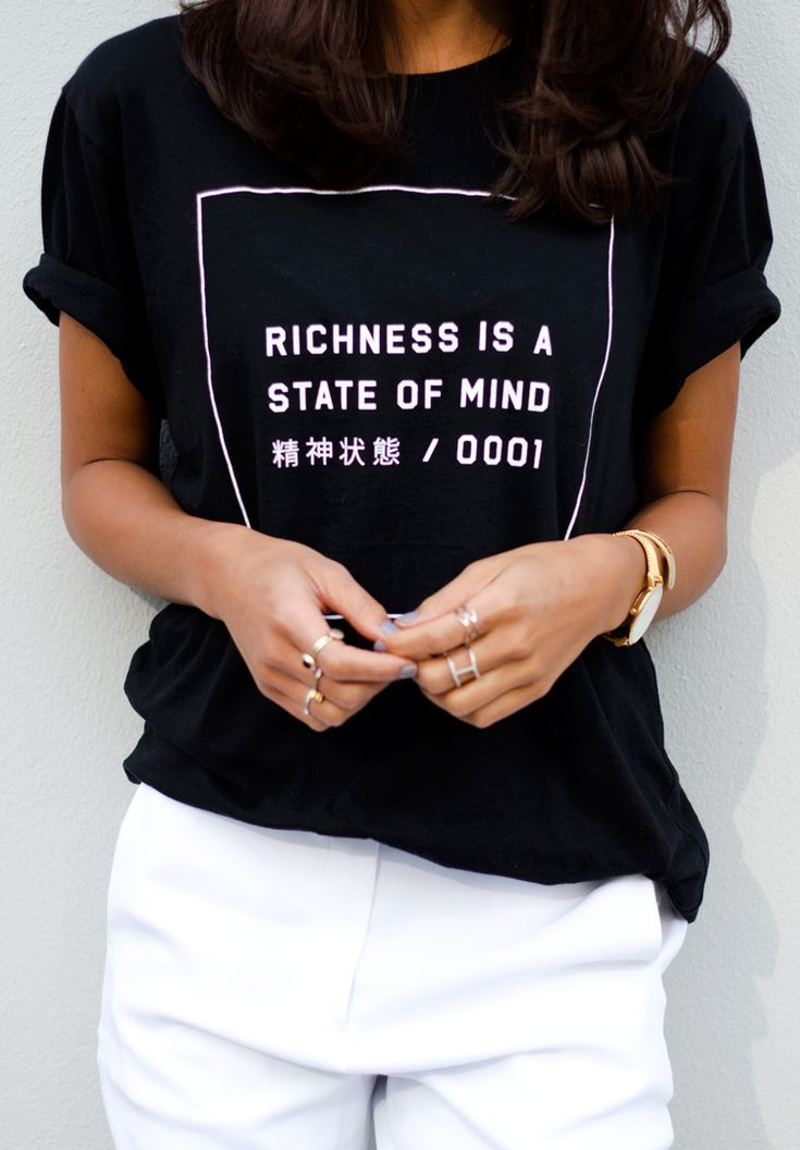 graphic tee, daily news project, black and white, white pants