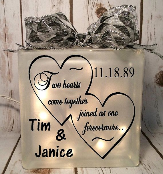 home decor lighted glass block two hearts come together joined as one…