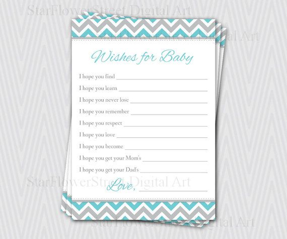 Wishes for Baby Boy chevron aqua turquoise by StarFlowerStreetDA