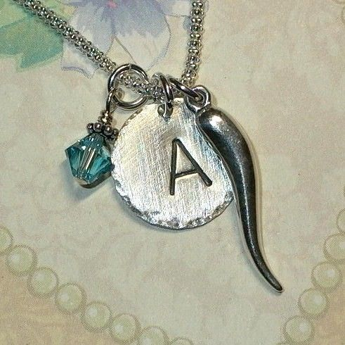 Italian Horn Initial Charm Dangle Hand by DolphinMoonCreations