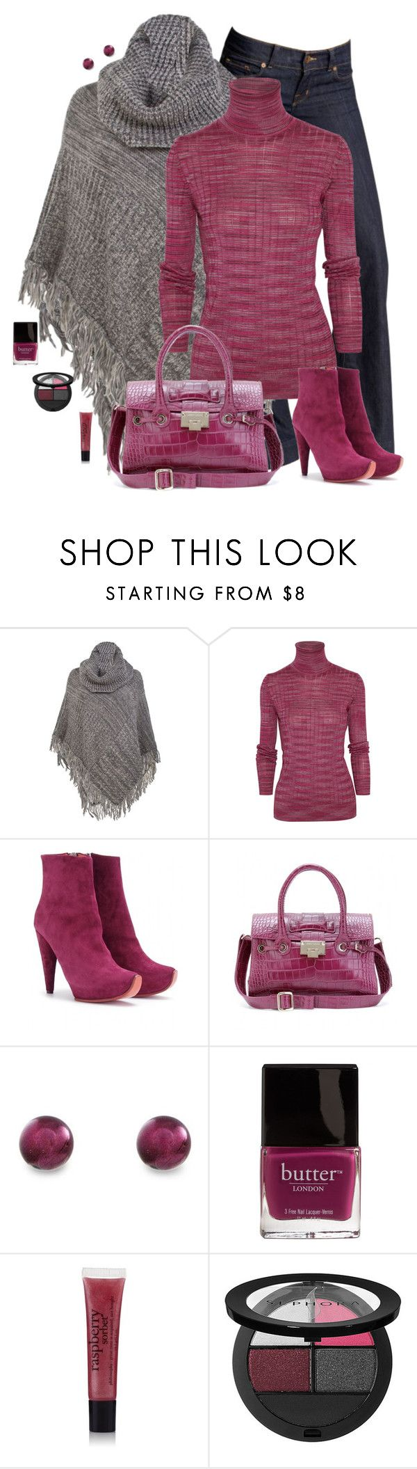 """""""Style This Poncho: Raspberry and Gray"""" by chrissykp ❤ liked on Polyvore featuring J Brand, Ann Harvey, Missoni, Acne Studios, Jimmy Choo, Butter London, philosophy, Sephora Collection, stripes and bootcut jeans"""