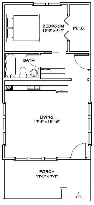 Tiny House 576 Sqft Pdf Floor Plan Model 1 Perfect That The Kitchen Does Not Open To The Bath