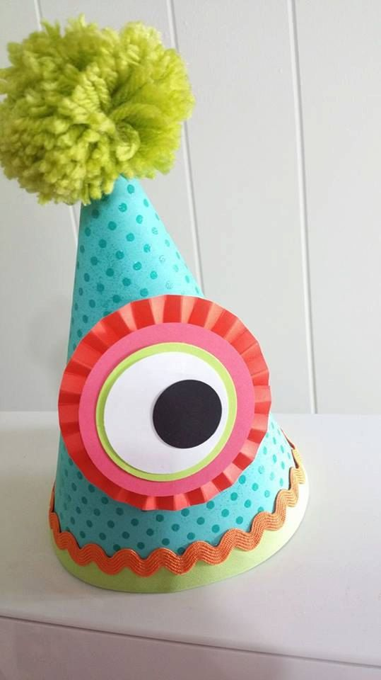 Little Monster Birthday Party Hat. Party Decor / Decoration by Charming Touch Parties. Girl / Boy / Gender Neutral / First birthday by CharmingTouchParties on Etsy