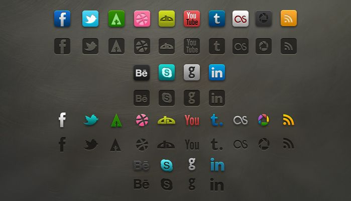 Up for grabs is a beautiful set of social icons. This free download includes a PSD file will fully editable shape layers, plus 56 icon variations in PNG format.