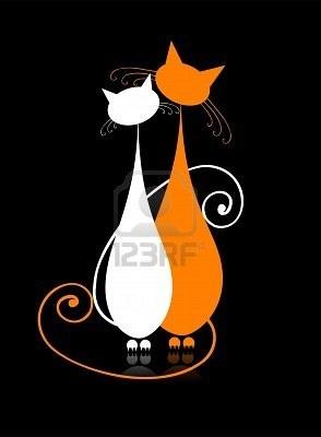 Gatos de couple sentados juntos, silueta para el diseño