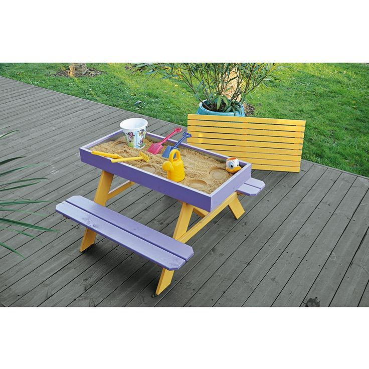 diy sandbox picnic table two in one for kids outdoor fun a table with built in benches allows children to play without putting sand all over the garden