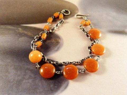 Orange aventurine  silver bracelet two strand bracelet by Mirma