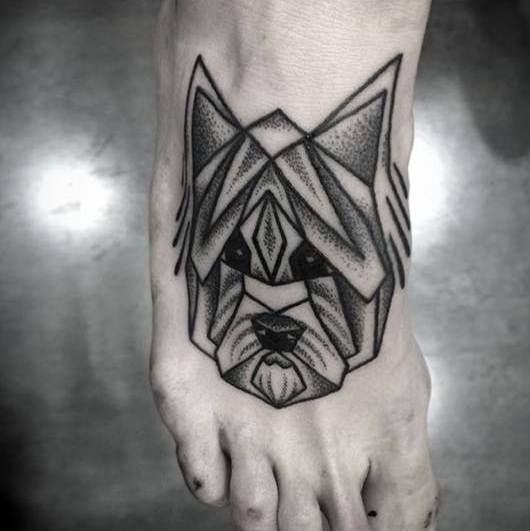 Geometrical doggy foot tattoo done by @kreskatattoo