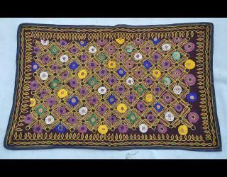 Embroidered Baby Cradle | supporting cultural crafts and communities; Saurashta region; approx 50yrs old. Kanabi patel farming caste gifted at the christening from Grandmother to her daughter for her newly born baby.  Locally the crib banket is know as 'Chaanityo'.