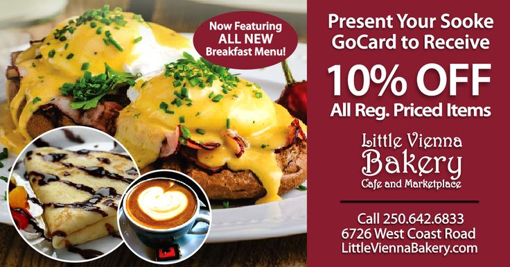 Little Vienna Bakery, Cafe and Marketplace is Sooke's most delicious tradition! Present your Sooke GoCard at Little Vienna Bakery and receive 10% Off regularly priced items! Click here for more details: http://thegocard.ca/category/coffee-shops Get a GoCard here//bit.ly/2qlGbI2 #littleviennabakery #sookegocard