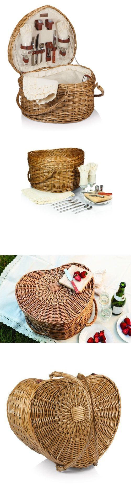 Picnic Baskets and Backpacks 38249: Heart-Shaped Romantic Picnic Basket For 2 - Deluxe Picnic Basket Set -> BUY IT NOW ONLY: $124.69 on eBay!