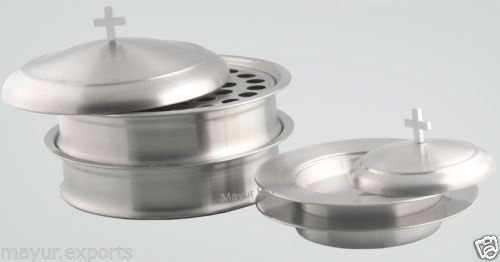 SilverTone-2-Communion-Trays-with-lid-and-2-Bread-Plate-Set-Matte-Finish