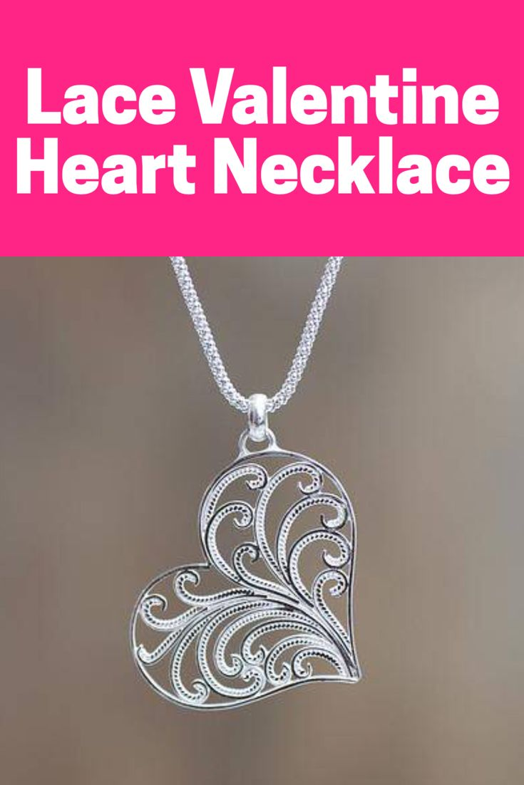 lace valentine heart necklace such a beautiful valentines gift for a girlfriend or daughter - Valentines Gifts For Daughters