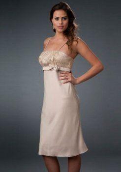 fantastiques Empire bretelles genou longueur des robes de soirée courtes charmeuse
