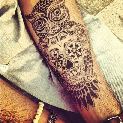 amazing owl and skull tattoos designs on hand for men Hand Tattoos for Men