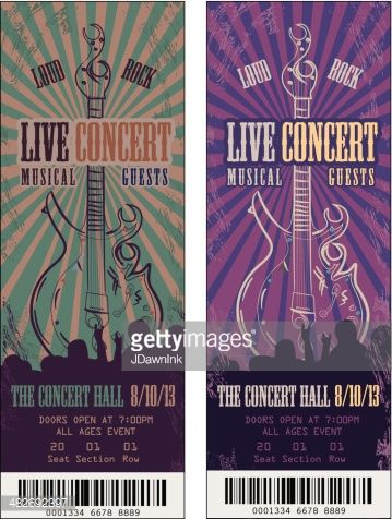 Vector illustration of a set of colorful concert ticket templates. Includes sample text design, guitar,audience silhouette and sample bar code. Download includes Illustrator 8 eps, high resolution...