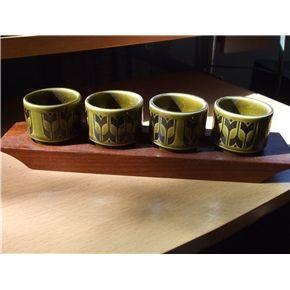 Hornsea Egg cups vintage retro pattern design green set of 4 wooden stand England 1975