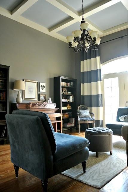 greys and blues, horizontal striped curtains, piano via design dump