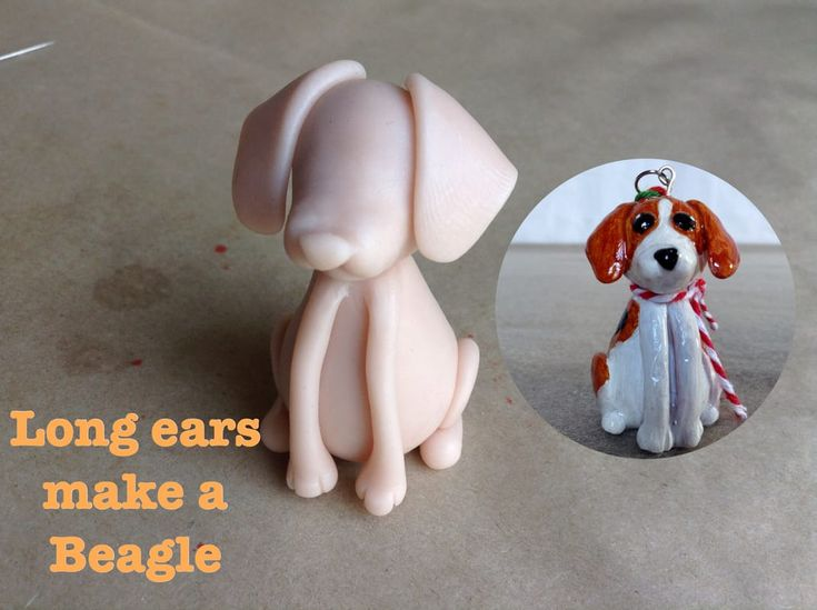 Putting long long ears on the polymer clay Mini Pup Base One sculpt gets you a Beagle or Basset. http://jebarsby.weebly.com/blog/re-fur-pups