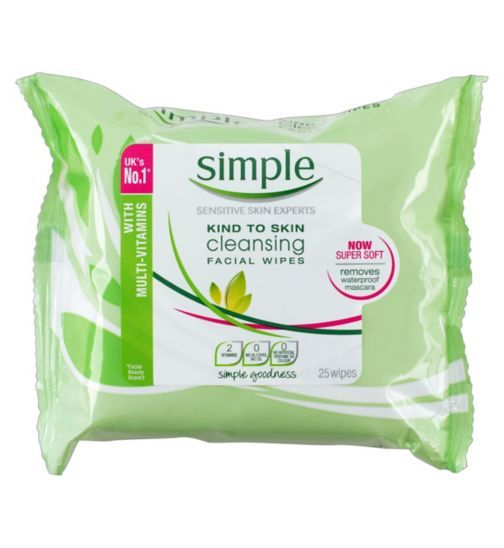 Simple Kind To Skin Cleansing Facial Wipes 25s - love!!! These are THE perfect makeup wipes. They don't sting my eyes, the cloth is super soft, and they're plenty damp enough to remove everything.