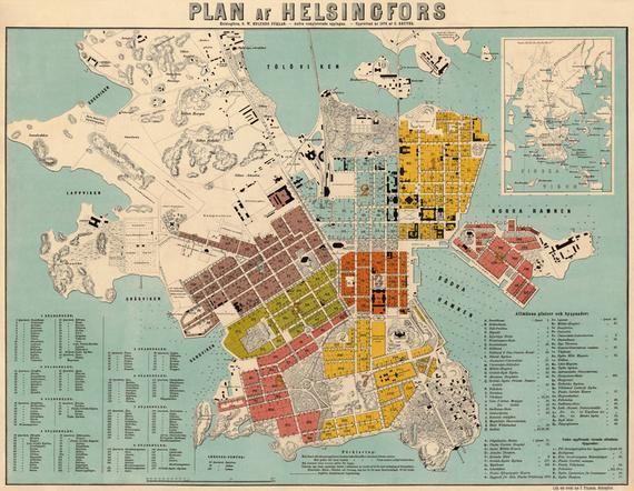 Helsinki Map Map Of Helsingfors Vanha Kartta Helsinki Plan