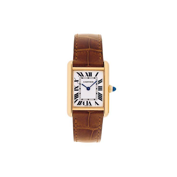 Montre Tank Louis Cartier petit modèle - Quartz, or jaune, saphir, cuir - Horlogerie de luxe pour femme - Cartier