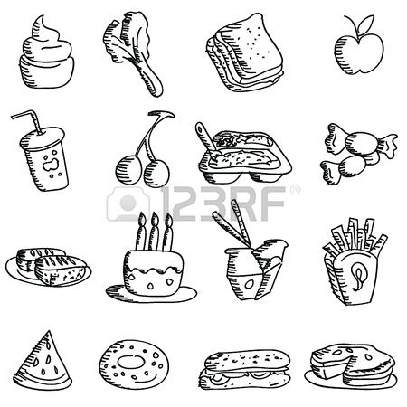 Cartoon-Doodles Symbole f�r Symbole, Lebensmittel, Restaurant und andere photo