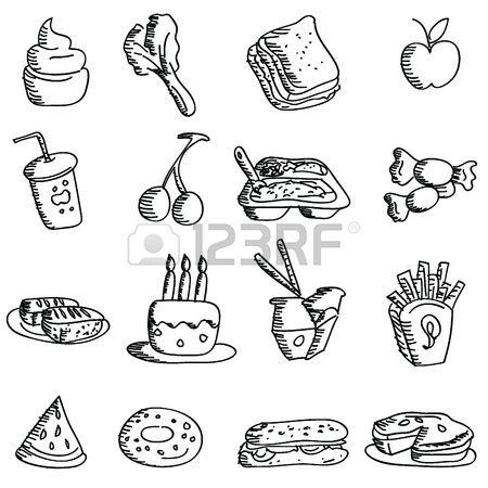 Cartoon-Doodles Symbole f�r Symbole, Lebensmittel, Restaurant und andere photo