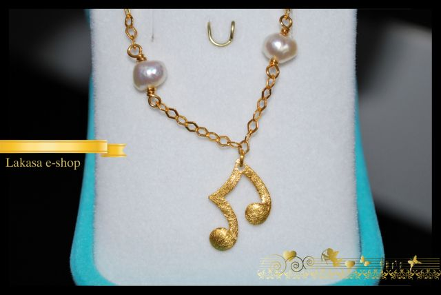 Music Lovers Bracelet Sterling Silver Gold-plated with 4 Pearls in Chain  Price: 44 euros Dimensions: 16 x 16 mm (music note charm) 170mm length & 2mm width of bracelet chain Code: 01Bnotes  Free Shipping for orders up to 40 euros E-mail: design.lakasa@gmail.com music_bracelet_silver_925_sterling_gold_plated_pearls_lakasa_eshop_jewelleries_gift_woman_greek_quality_products_contmponary_art