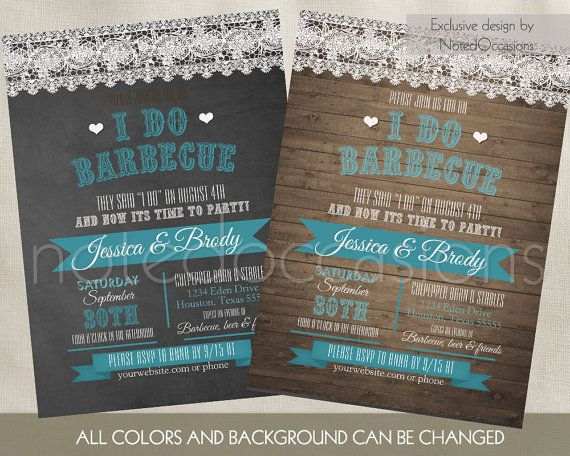 I Do BBQ Wedding Reception Invitations with a wonderful Country western lace touch. CHOOSE: Background, colors of red fonts at no additional charge. Background Options: Barn wood, yellow aged paper, kraft paper and chalkboard for background.  - WHAT YOU WILL RECEIVE - Two digital files:  - Single Sided 5 x 7 Wedding Invitation - Single Sided 5.5 x 4.25 RSVP Card *Please note that no physical item will be sent - these are digital files personalized for you*  All designs can be customized for…