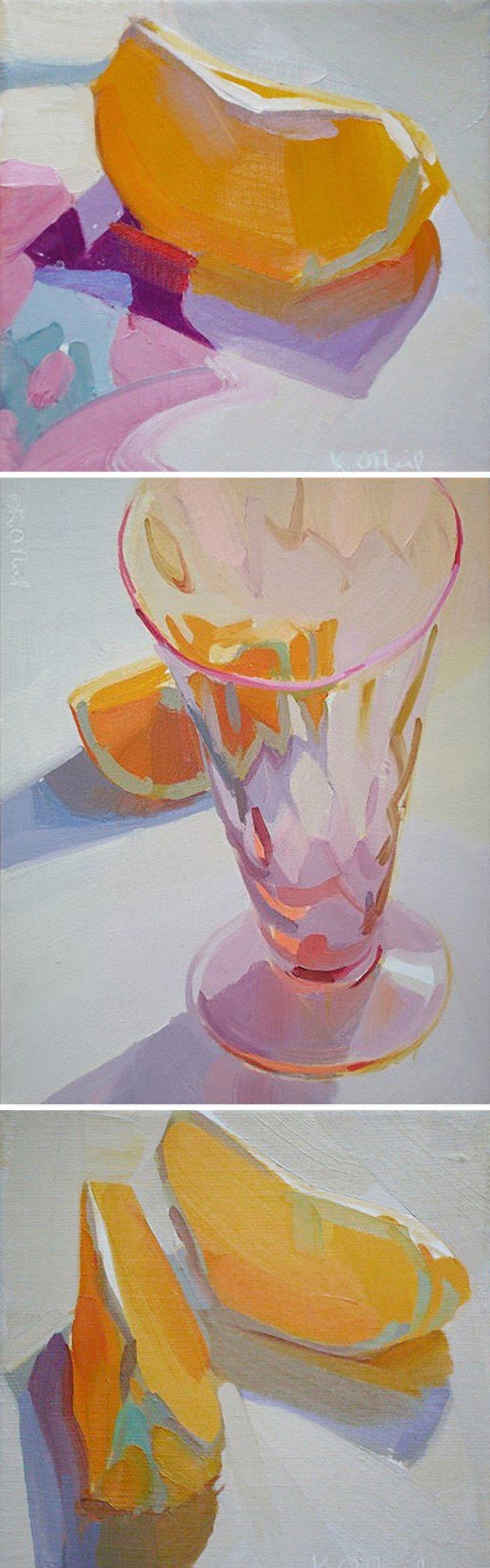 Karen O'Neil, lemon wedges still life fruit painting, 2014