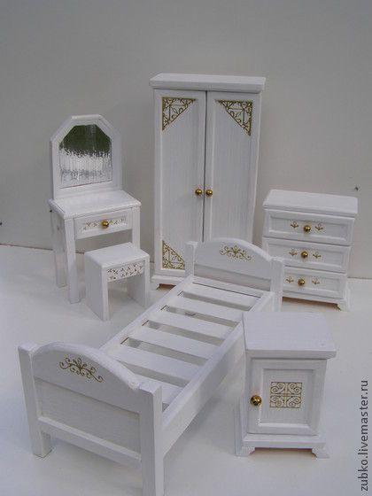 """Кукольный дом ручной работы. Ярмарка Мастеров - ручная работа Набор """"Спальня"""" для кукол до 30см. Handmade."""