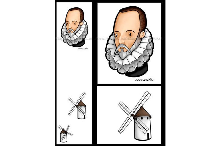 Marcapáginas de Miguel de Cervantes para sacar las mejores notas en literatura, por lamebaverde