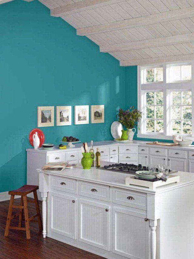 peinture cuisine turquoise et armoires blanches
