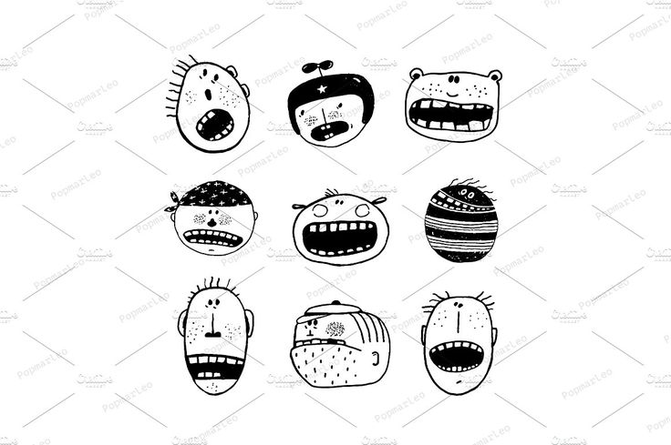 Doodle Cartoon Emotional Faces by Popmarleo Shop on @creativemarket