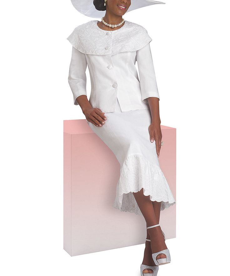 Love this Lisa Rene White Bertha-Collar Skirt Suit - Plus Too by Lisa Rene on #zulily! #zulilyfinds