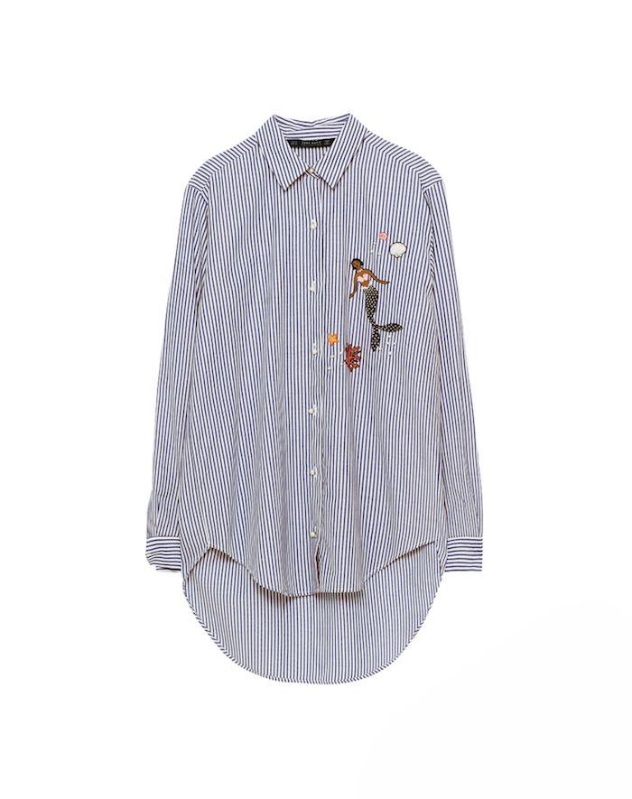 Blouse en coton et polyester, de Zara - Shopping mode: les chemises rayées
