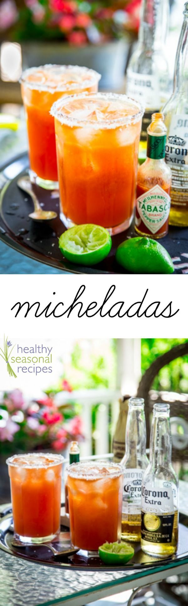 Here's how to make killer micheladas, also known as red beer. It's a savory beer drink, served with ice, lime, hot sauce and tomato juice. They are super refreshing on a hot summer evening. Healthy Seasonal Recipes by Katie Webster