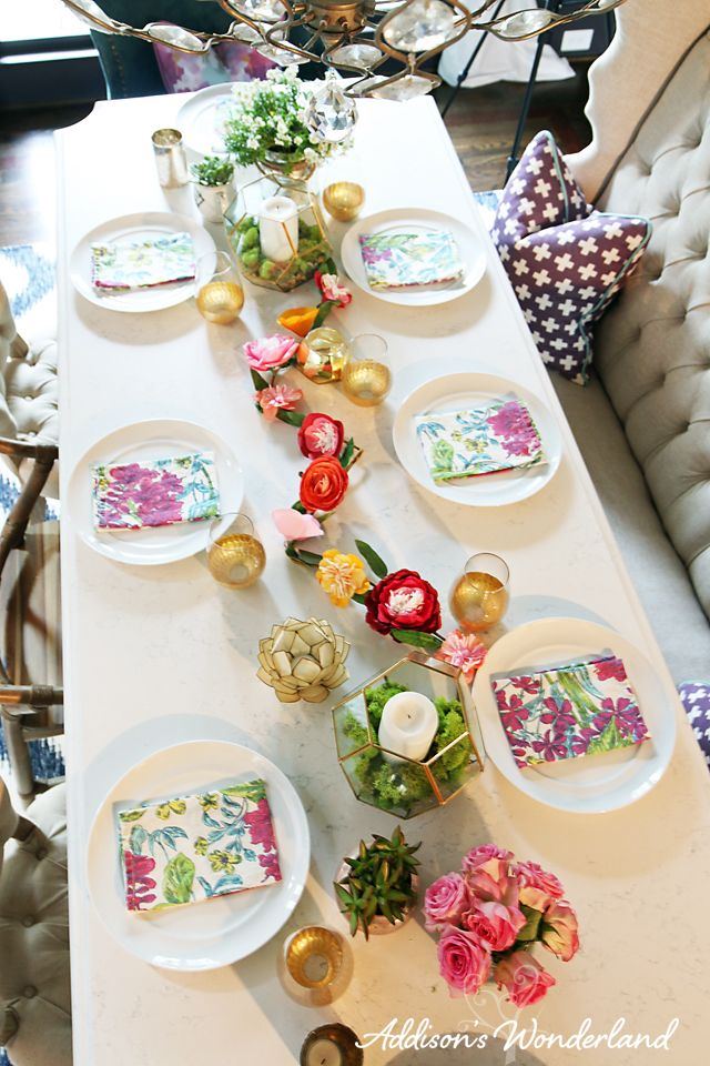 A look at our Spring Table Setting with lots of colorful ideas on getting your dining room Spring/Summer ready!