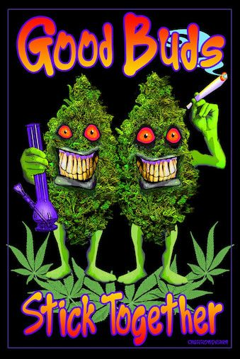 Good Buds Stick Together - Black Light Poster www.trippystore.com/good_buds_stick_together_black_light_poster.html