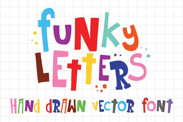 Funky letters and numbers vector set