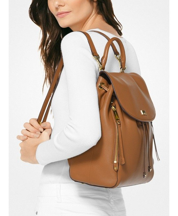 Michael Kors Outlet Store Sale Evie Medium Leather Backpack Acorn ... 04bd64825b