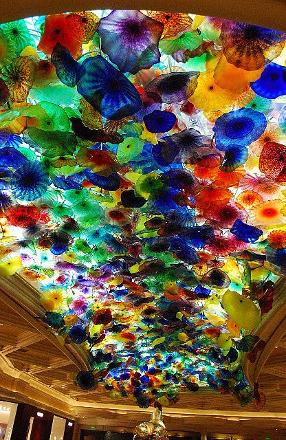 Blown glass ceiling in the lobby at Bellagio, Las Vegas, United States