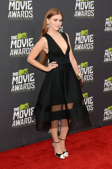 Holland Roden donned a futuristic Donna Karan dress at the MTV Movie Awards 2013